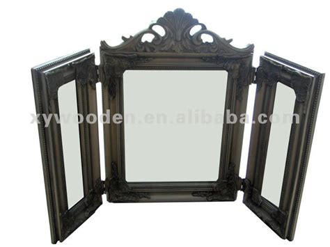 Three Sided Mirror Vanity by Foldable Three Sided Wood Framed Vanity Dressing Table