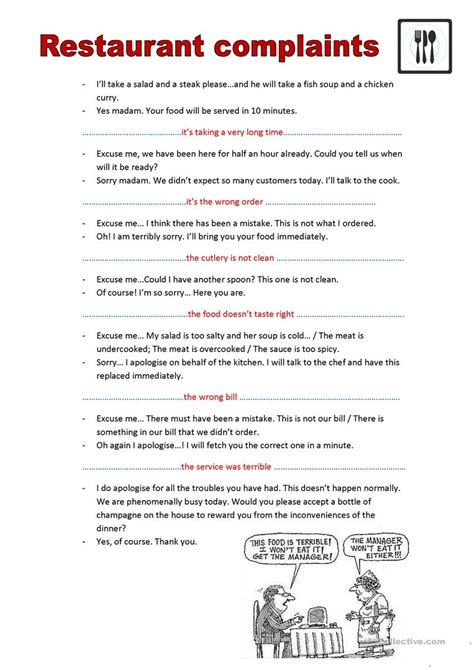 Complaint Letter About The Restaurant Restaurant Complaints Worksheet Free Esl Printable Worksheets Made By Teachers