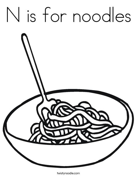 N Is For Noodles Coloring Page Twisty Noodle Coloring Pages Twisty Noodle