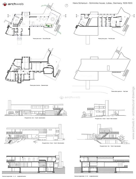 3d House Plan schminke house scharoun dwg drawings