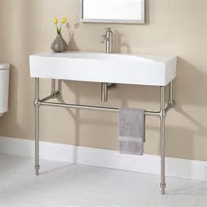 Bathroom Sink Consoles Zita Porcelain Console Sink With Brass Stand Towels
