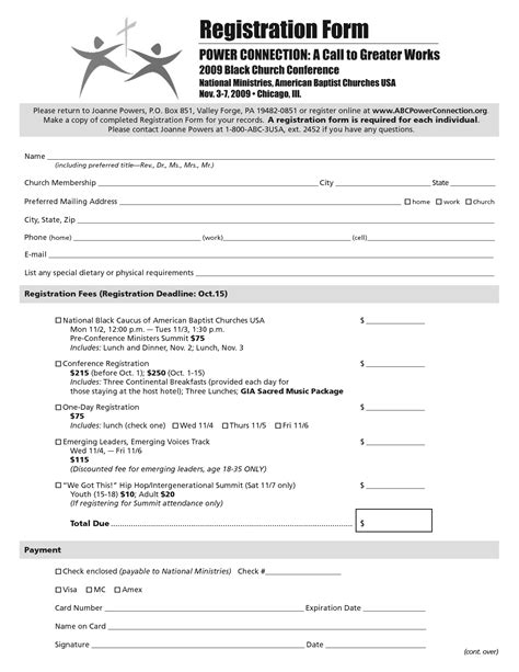Template Sponsor Form Word Html Autos Weblog Church Registration Form Template