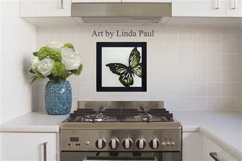 How To Install Tile Backsplash Kitchen Butterfly Art Paintings Glass Tiles Of Butterflies