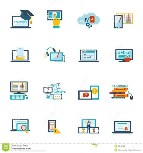 tutorial online learning e learning icon flat stock vector image of design flat