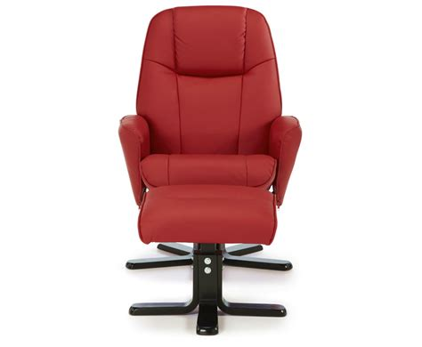 red leather reclining chair jeremy red faux leather recliner chair and foot stool