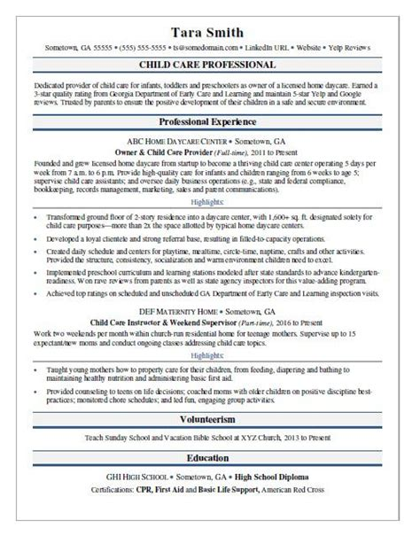 child care resume sle