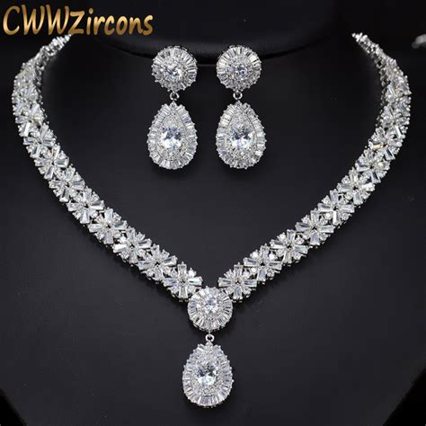 Wedding Jewelry Sets by Cwwzircons White Gold Color Luxury Bridal Cz