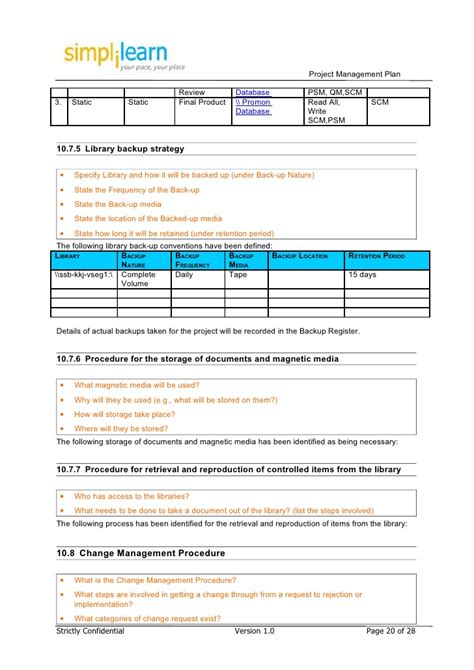 backup strategy template project management plan template