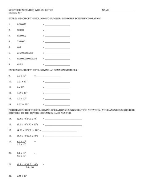 Worksheet 2 Scientific Notation Answers