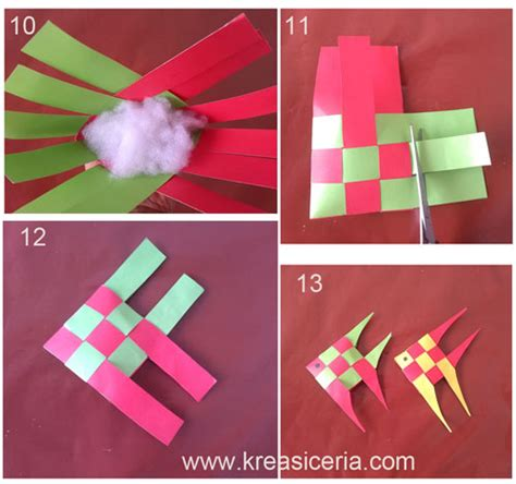 tutorial origami ketupat membuat hiasan bentuk ikan dari anyaman kertas kreasi ceria