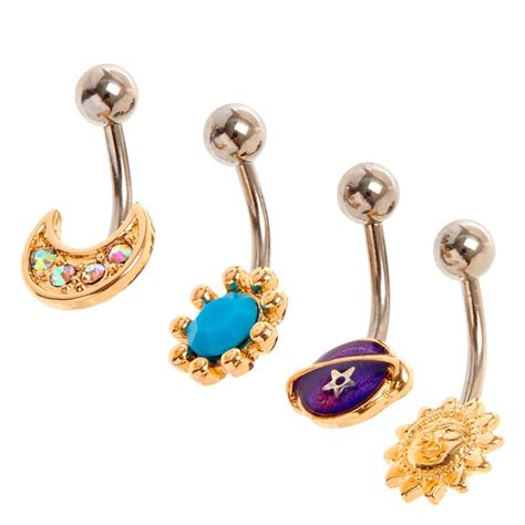 pug belly bar gold toned celestial belly bars s us