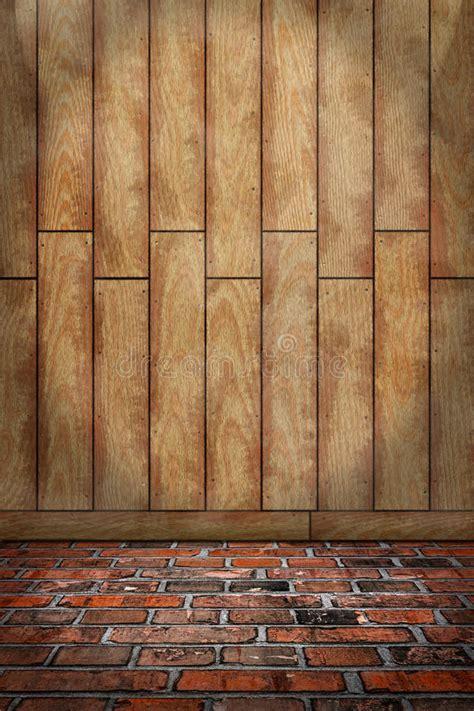 Indoor Background, Brown Wood Wall, Red Brick Floor Stock