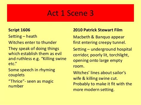 themes of macbeth act 1 scene 1 comparison of macbeth script film adaption