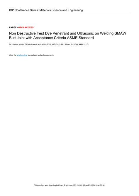 (PDF) Non Destructive Test Dye Penetrant and Ultrasonic on