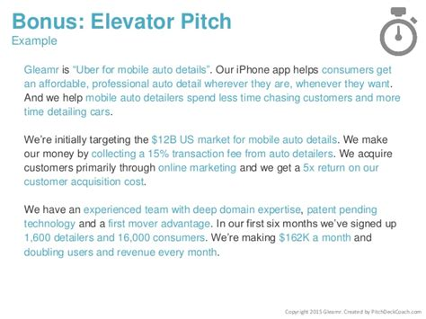 elevator pitch template pitch deck template for startups