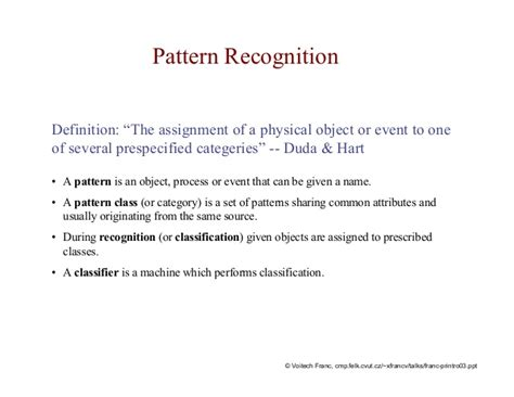 pattern classification meaning pattern recognition definition