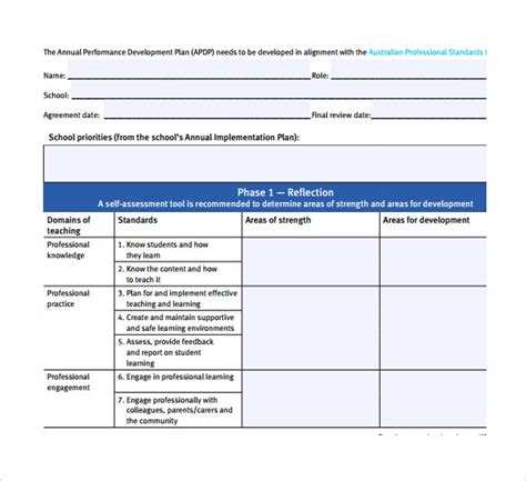 educational development plan template sle performance plan 6 documents in pdf word
