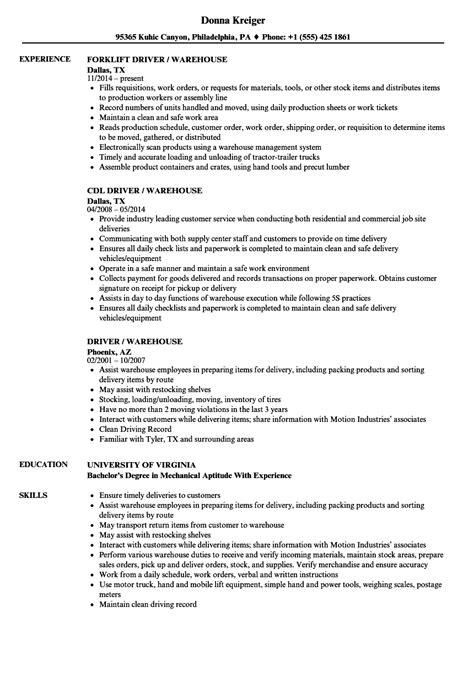 driver warehouse resume sles velvet