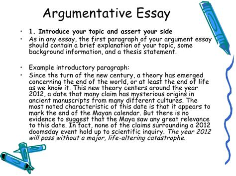 Argumentative Essay Introduction by Argumentative Essay Intro