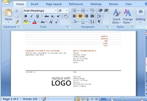 Free Work Order Template For Microsoft Word 2013 Microsoft Office Form Templates