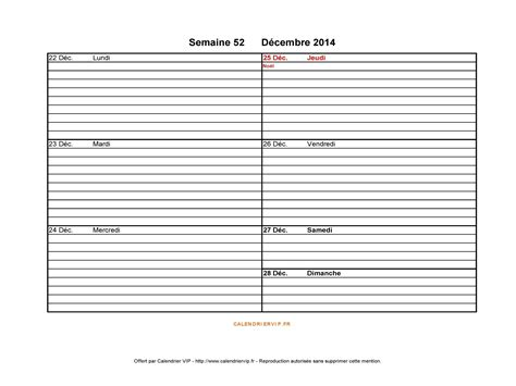 Calendrier Semaine 51 Semaine 52 2014