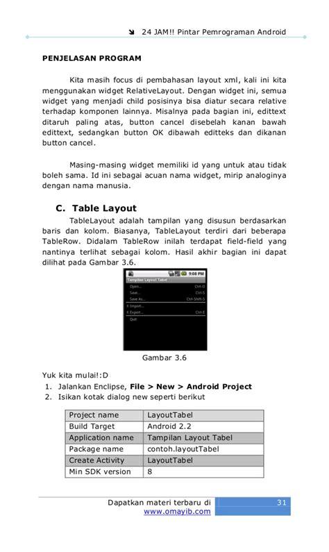 layout xml sat 24 jam pintar pemrograman android
