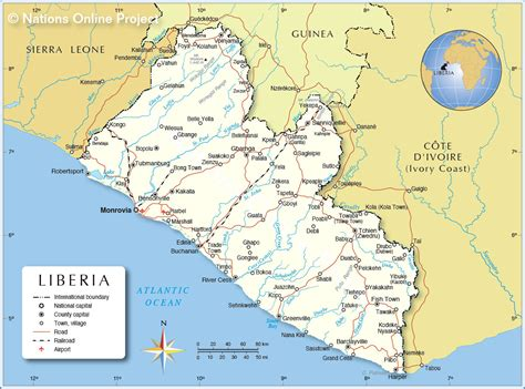 liberia map political map of liberia nations project