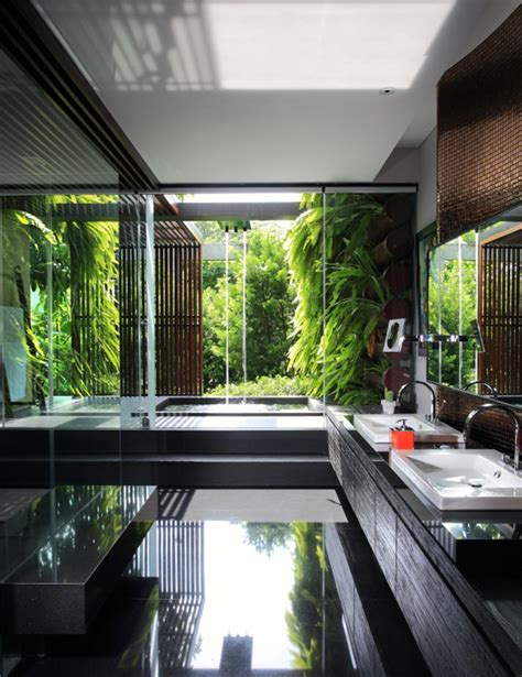 design interior nature modern indonesian house to merge with nature house