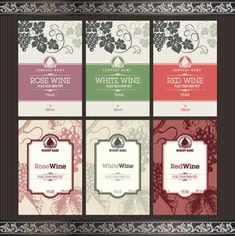 free wine label template vintage elements of wine labels vector material 02