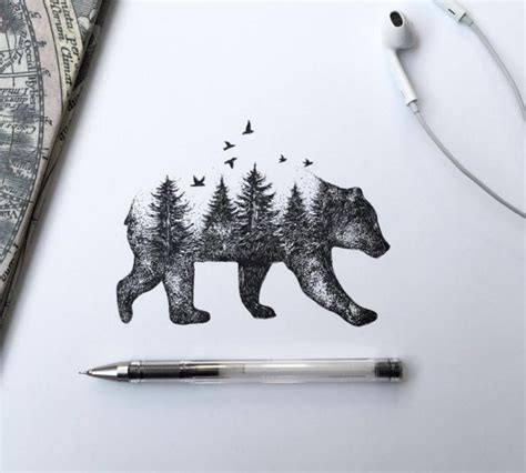 cool forest tree view in walking bear body tattoo stencil