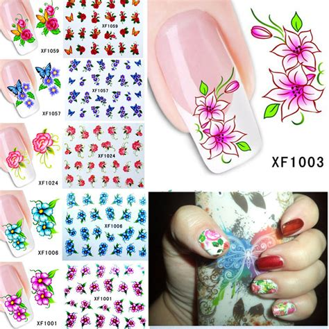 Nail Sticker Temporary Nail Stiker Kuku 23 60sheets nail flower water tranfer sticker nails wraps foil decals temporary