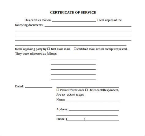 sle certificate of service template 16 documents in