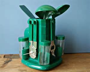 Green Kitchen Utensil Holder - retro green plastic rotating kitchen utensils holder pot or