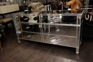mirrored 6 drawer dresser with silver leaf trim for sale