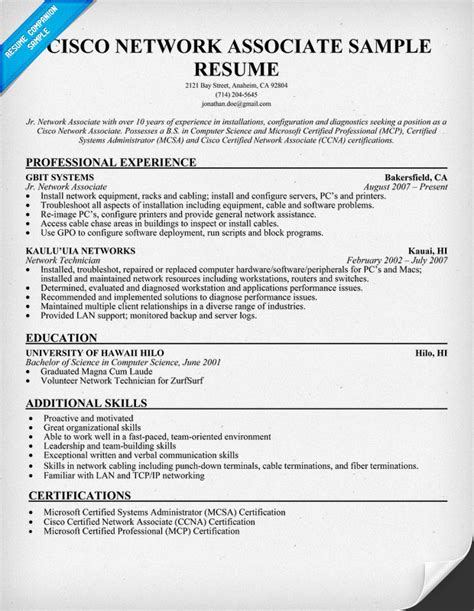 ccna profile resume