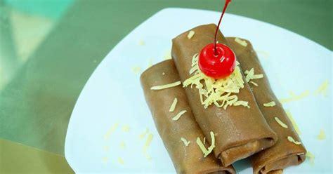 resep dadar gulung cokelat isi pisang keju oleh retno asih