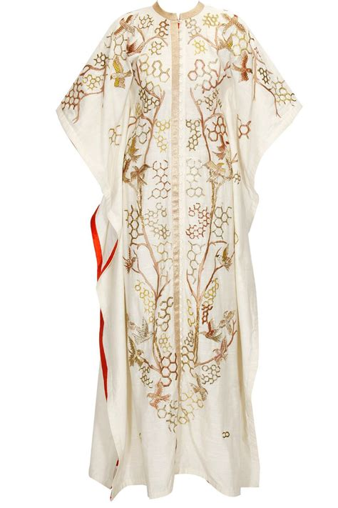 white zari dabka embroidered kaftan available only at pernia s pop up shop s
