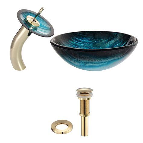 kraus mercury glass vessel and waterfall faucet ladon glass vessel waterfall faucet chrome