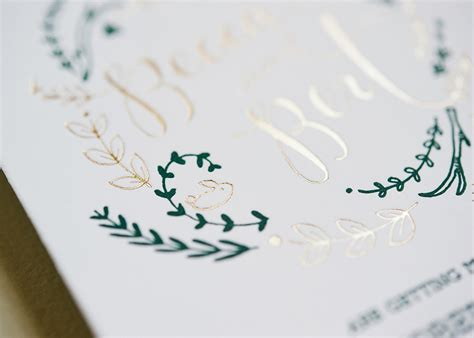 rustic green rustic green and gold foil wedding invitations
