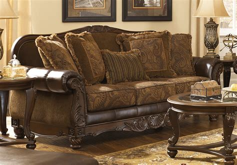 fresco durablend antique sofa fresco durablend 174 antique sofa set cincinnati overstock