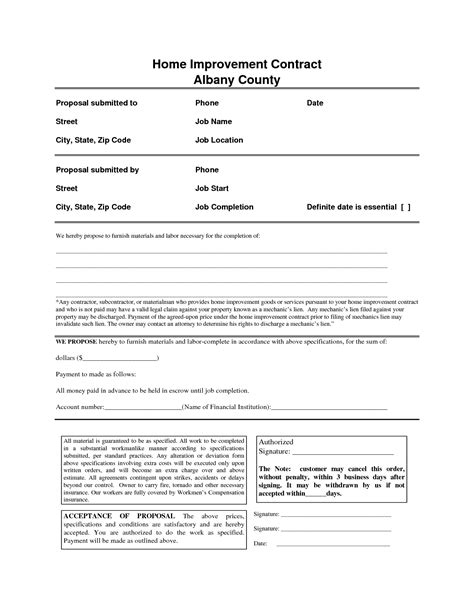 Home Improvement Contract Free Printable Documents Home Repair Contract Template