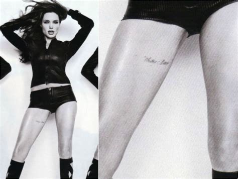 tattoo on angelina jolie thigh the deep meaning behind 12 of angelina jolie s ink ritely