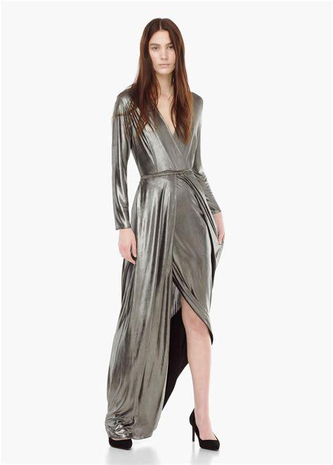Dress Mango Kotak mango wrap front maxi dress in metallic lyst