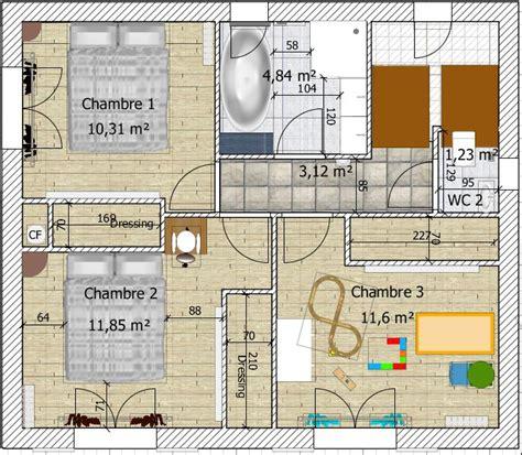 plan de 110m2 avec etage ventana