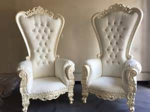 Two white ornate french baroque wedding bride groom king queen throne chairs what s it worth