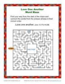 love word maze bible activity kids