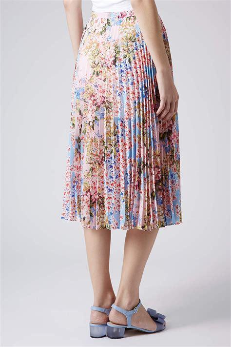 Pleated Floral Midi Skirt lyst topshop floral pleat midi skirt