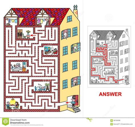 plan your house house labyrinth for kids easy stock vector image