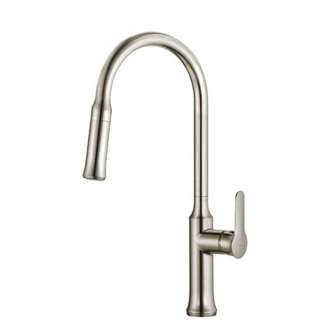 pull kitchen faucet kraus nola single lever pull kitchen faucet stainless steel finish the home depot canada