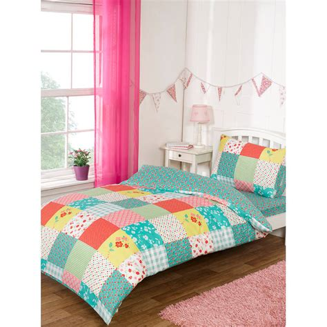 Patchwork Bed - complete single bed set patchwork duvet covers